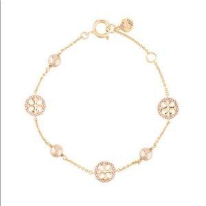 gold crystal tory burch logo bracelet